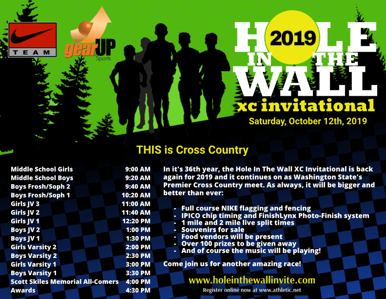 2019 NIKE - Hole In The Wall XC Invitational Poster with race logo, NIKE Team logo, GearUP Sports logo, race times, and event information